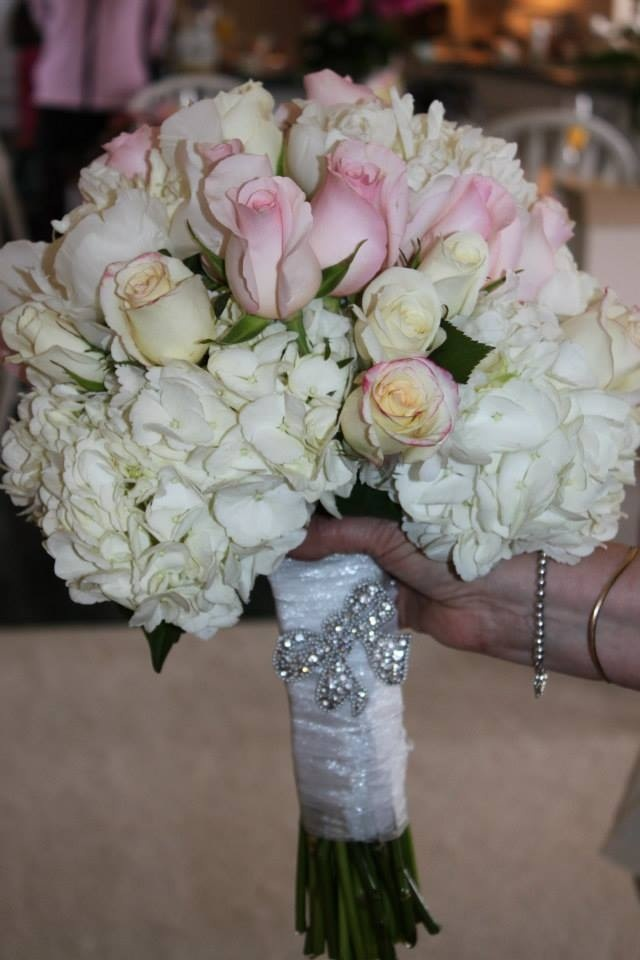 Pink, white and cream bridal bouquet with bling brouche Hydrangea and roses