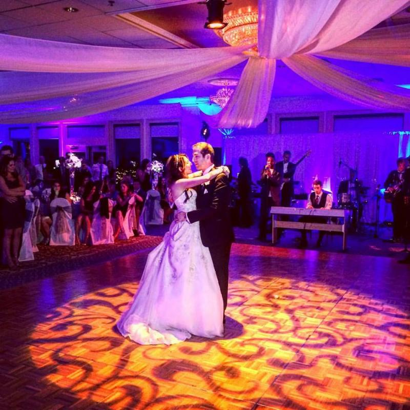 first dance, bride and groom, dance floor, ceiling swag, decor projection