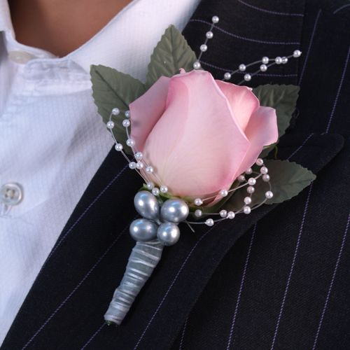 Grooms boutonnieres  Pink rose with silver accents